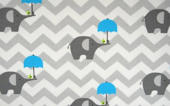 Gray elephant fabric cotton baby gray chevron nursery fabric for Grey baby fabric
