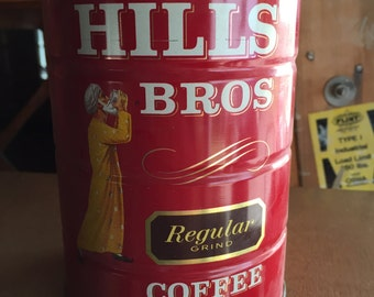 Hills Bros Vintage 32oz Coffee Can Tin with Lid