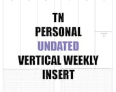 TN Personal Undated Insert: MO2P, Vertical WO2P w/graph paper, Habit Tracker, Online Order Tracking, Monthly Goals & Reflections Pages