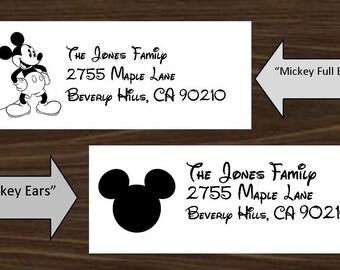 "Custom Printable PDF Mickey Ears OR Full Body 1"" x 2 5/8"" Return Address Labels"