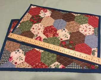 Reversible Handmade Quilted Placemat. Patchwork Placemat.