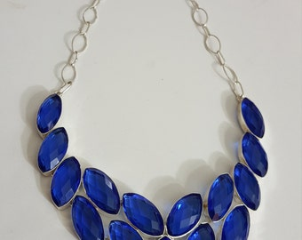 Hand Crafted Blue Quartz Necklace Set in .925 Sterling Silver