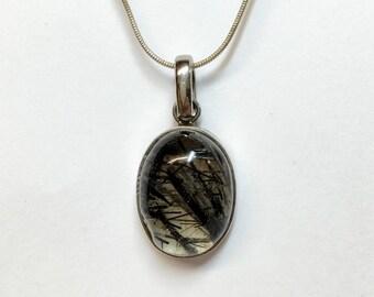 Large tourmalated quartz pendant, sterling silver