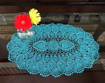 Teal Pineapple Crochet Doily - Handmade Doilies - Farmhouse Decor - Wedding Gift - Coffee Table Decor - Lace Doily - Housewarming Gift