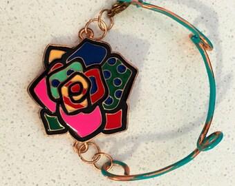 Enamel and Patina Copper Bracelet