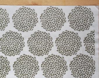 No. 15 Hand printed fabric panel screen print swampy green on bone white fabric