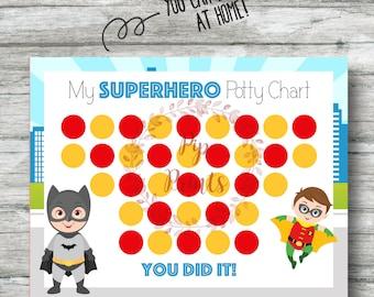 Printable Superhero Potty Training Chart- Instant Download- Batman and Robin PDF