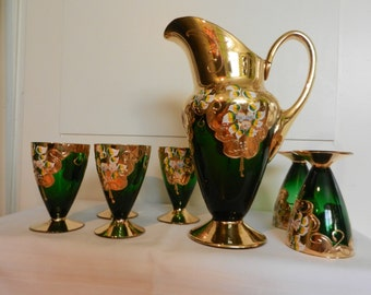 Forest glass , Bohemian glass , juice service to 1950s goldplated floral