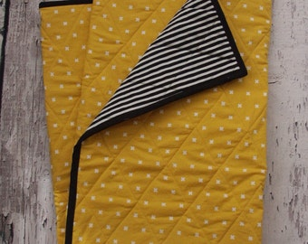 Modern Baby Quilt - Mustard, Black, White, Stripe, Cross