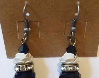 Black and Silver Flower Stack Earrings