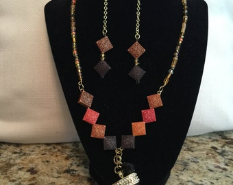 Saharan inspired statement necklace and earring set