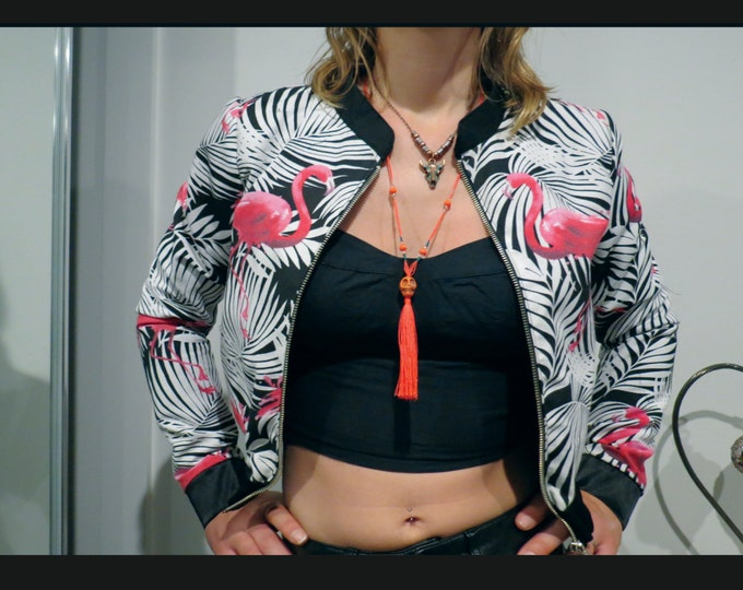 Flamingos Tropical Cropped Bomber Jacket