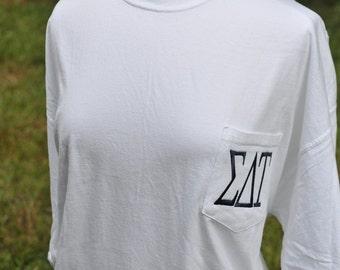 Sigma Delta Tau Embroidered Pocket Comfort Color Short Sleeve Shirt