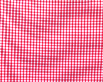 Red gingham fabric - Red check fabric - Small checked fabric - Summer fabrics - School summer dress fabric - 3mm checks