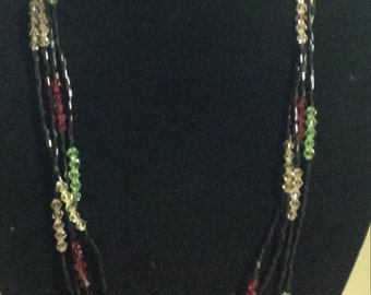 4 rows multi coloured beaded necklace