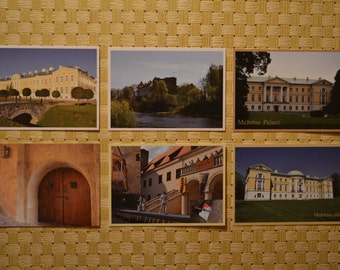Latvian postcards set, Rundale Palace, Mezotne Palace, Bauska Castle