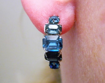 Vintage 50s Rhinestone Earrings, Screw Back, Blue Rhinestone, Square Cut Rhinestone, Mid Century, Bride Jewelry, Wedding Jewelry, Delicate