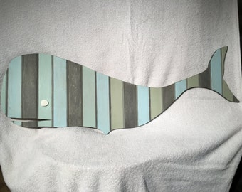 Grey and Green Whale Wood Cutout