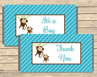 Blue Monkey Printable Candy Bar Wrappers, Blue Monkey Hershey Chocolate Wrapper, Blue Monkey Boy Shower Favor, DIY Instant Download, 006-B