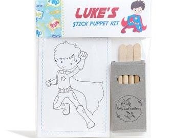 Personalised Superhero Stick Puppet Kit