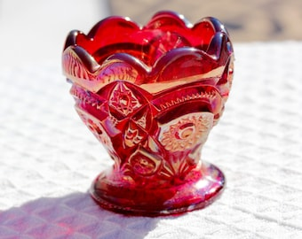 Imperial Glass Red Carnival Glass Iridescent Egg Cup, Star and Arch Pattern