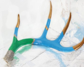 Hand Painted Deer Antler Green Blue and Gold Chevron