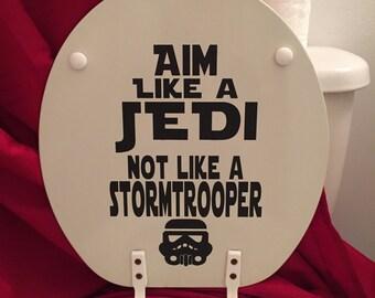 Star Wars Vinyl Decal-Bathroom Toilet: Aim Like a Jedi in black
