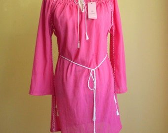 Handmade cotton dress (medium length, long sleeves)