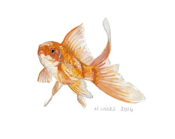 Original Goldfish Painting - with frame