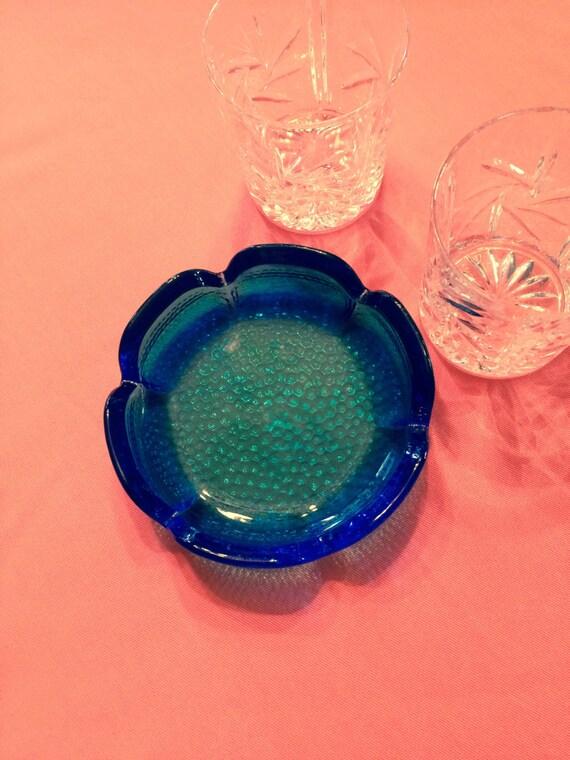Christmas sale 15% off , 6 inch Vintage Retro Blenko Blue Art Glass pebble bottom ashtray scalloped edge