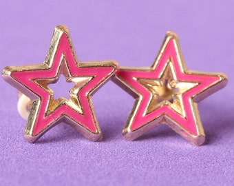 GIRLS EARRINGS enamel hollow star