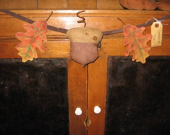 Leaves at Play - fall garland, banner of oak leaves and an acorn