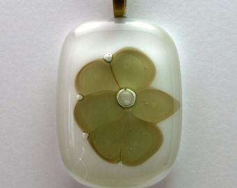 Pressed Flower Fused Glass Pendant
