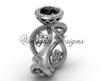 14kt white gold flower engagement ring, Black Diamond VF301014