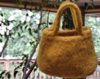 Yellow felted handbag