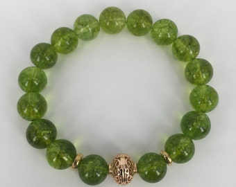 Peridot Bracelet, Natural Peridot Gemstone Bead with 24K gold plated spacer beads