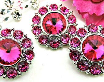 HOT PINK Rhinestone Buttons W/ Hot Pink Surrounding Rhinestones Acrylic Buttons Diy Embellishments Wedding 15mm 2997 24R