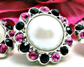 WHITE Pearl Rhinestone Acrylic Buttons W/ Black & Hot Pink Surrounding Rhinestones Brooch Bouquet Coat Buttons 26mm 3185 09P 1 24R