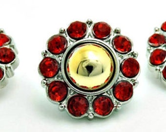 Gold Pearl w/ Red Surrounding Acrylic Rhinestone Buttons Coat Buttons Fashion Garment Buttons Bridal Buttons  25mm 2997 01P 3R