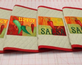 Handmade Tan Quilted Placemats, Set of 4 Oval (2 SALSA/2 SPICY) with Matching Tan SALSA Martha Stewart Kitchen Towel.