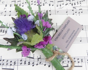 Scottish thistle button hole corsage for weddings and gatherings