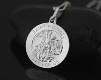 St michael necklace etsy sterling silver st michael necklace saint michael archangel pendant st michael medal aloadofball Image collections