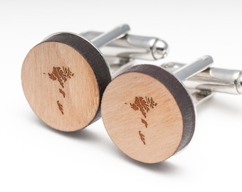 Faroe Islands Wood Cufflinks Gift For Him, Wedding Gifts, Groomsman Gifts, and Personalized