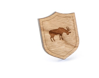 Moose Lapel Pin, Wooden Pin, Wooden Lapel, Gift For Him or Her, Wedding Gifts, Groomsman Gifts, and Personalized