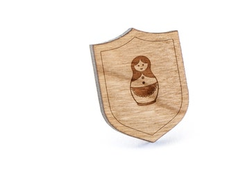 Russian Nesting Doll Lapel Pin, Wooden Pin, Wooden Lapel, Gift For Him or Her, Wedding Gifts, Groomsman Gifts, and Personalized
