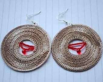 Crochet earrings, hoops - Mocha
