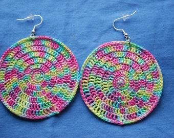 Crochet earrings, hoops - Rainbow