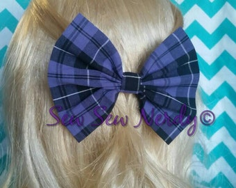 Purple plaid bow