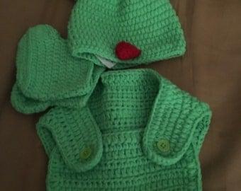 3 pc crochet frog baby set