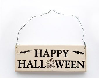 Wood Sign Saying Happy Halloween. Halloween Decor